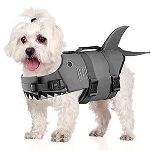Petacc Dog Life Jacket Pet Floatation Vest Dog Lifesaver Dog Life Preserver for Water Safety at The Pool, Beach, Boating (S, Shark)