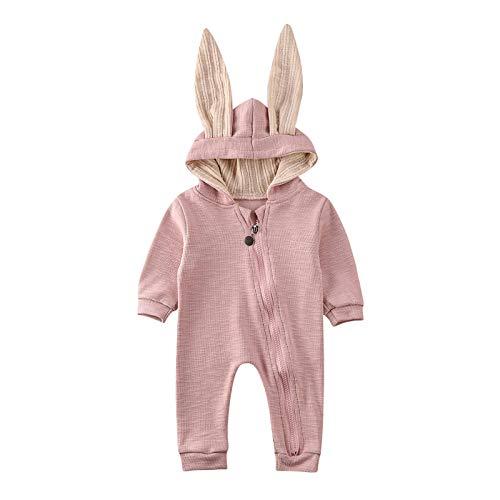 Carolilly Schlafanzug Baby Mädchen Pyjama Jungen Strampler Ostern Hasen Ohren Hoodie Herbst Winter (Rosa 1, 0-6 Monate, 59)