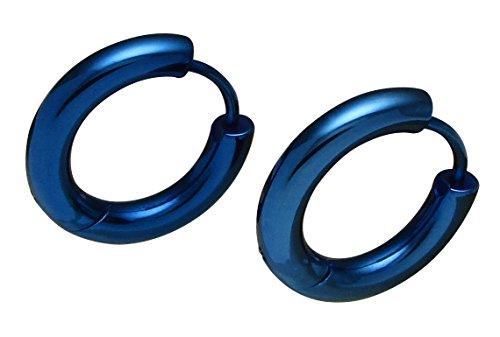 Kikuchi ERTS019 - Pendientes de aro para hombre y mujer, acero inoxidable, tubo Huggies azul Aurora brillante, 3 mm/16 mm de diámetro