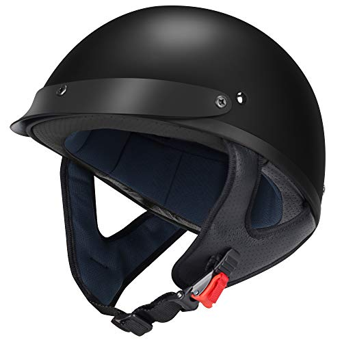 GLX Unisex-Adult Size M15 Fiberglass Scooter Chopper Motorcycle Half Face Helmet DOT Approved (Matte Black, XX-Large)