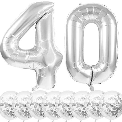 Youngneer Globo de helio para 40 cumpleaños, diseño de número 40, color plateado