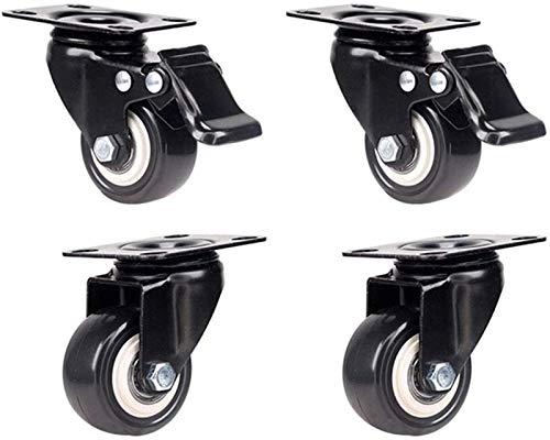 4x50mm Conjunto de 4 ruedas Castor Heavy Duty ruedas giratorias rueda de goma Ruedas con freno bloqueable for la carretilla echador de los muebles de reemplazo (color: 2 con frenos + 2 no Frenos)