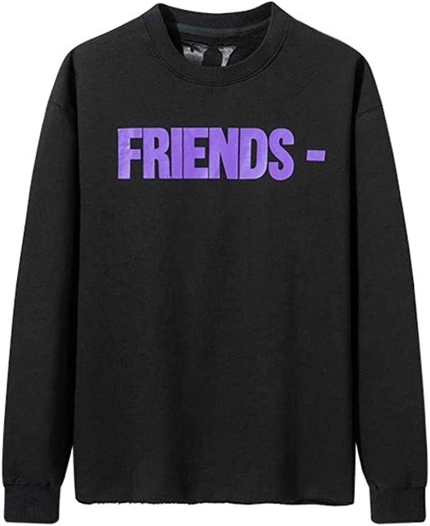 Trendy black round neck warm sweater male FRIEND hem destruction big V purple long-sleeved pullover female hip-hop