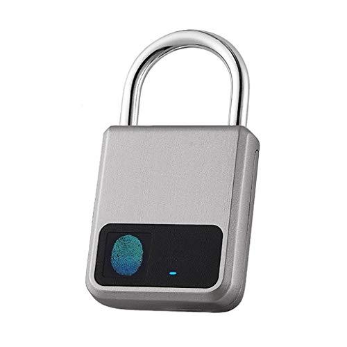 ECSWP WODEDAN Fingerprint-Vorhängeschloss, geeignet für Haustür, Bücherregal, Koffer, Rucksack, Fitnessstudio, Fahrrad, Büro, Unterstützung USB-Laden