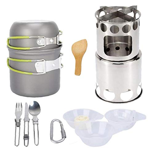 Juego De Utensilios De Acampada Con Estufa De Leña Al Aire Libre Backpacking Cocinando Kit Con Green Handel Pot Cuenco De Cuchara Vajilla De Cocina L