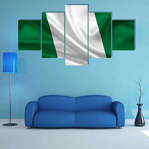 GHYTR Bilder 5 Teilig Leinwandbilder Mit Rahmen Wege Flagge Von Nigeria Leinwanddrucke 5 Stück Wandkunst Leinwand Bilder XXL Wohnzimmer Wohnkultur 150X80Cm Geschenk