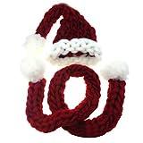 Gorro de Navidad cálido y grueso tejido, hecho a mano, cola larga, bufanda de punto B