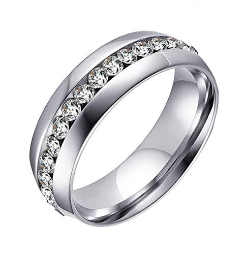 HIJONES Schmuck Damen Edelstahl Einreihig Diamant Ring Größe 52 (16.6) (Silber)