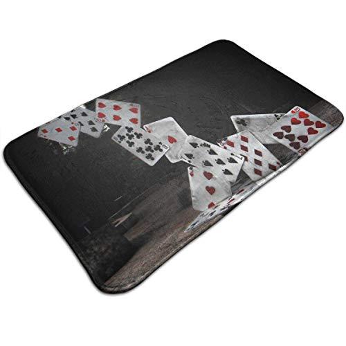 LnimioAOX Abstraktes Kartenschloss Poker Memory Foam Badematte - Rutschfester Teppich für Innen/Außen/Haustür/Schlafzimmer/Wohnzimmer/Küche