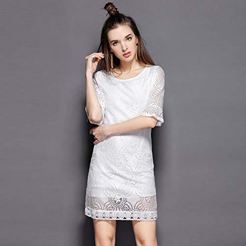 QUNLIANYI bandjurk tule lang oversized wit lace jurk mesh straight mini jurk flare sleeve kantoor dames Large Size Plus Slim