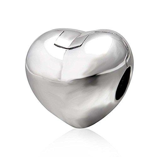 Herz-Clip Charm 925 Sterling Silber Charm Stopper Charm Schloss Charm Spacer Charm für Pandora Bettelarmband (Silber)
