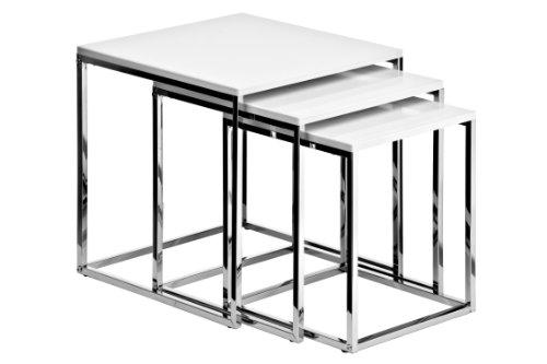 Premier Housewares salontafel met chromen frame, 42 x 40 x 40 cm, wit, 3 stuks