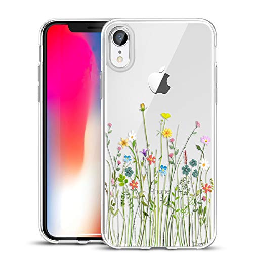 Unov Case Compatible with iPhone XR Case Clear with Design Slim Protective Soft TPU Bumper Embossed Pattern 6.1 Inch (Flower Bouquet)