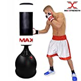 MAXSTRENGTH Sac de Frappe sur Pied pour Arts Martiaux MMA UFC 1,7 m, Noir/Blanc