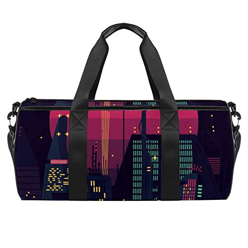 TIZORAX Night City Scape And Pink Sun SilhouetteGym Duffel Sports Bags Canvas Travel Bag with Waterproof Pocket