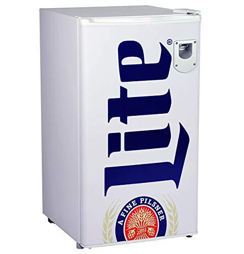 Miller Lite ML90 Beverage Cooler - 3.2 Cubic Foot (90L) Capacity, Compact Mini Fridge with Bottle Opener, Compressor Cooling, 2 Adjustable Shelves and Legs, 90 Liters, White