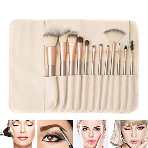 12 Pièces/Set Maquillage Pro Brosses Kit Prémium Fibres Synthétiques Fondation Brosse Cosmétiques De Teint En Poudre Contour Fard à Joues Brush Set Avec Sac Cosmétique Outils Maquillage