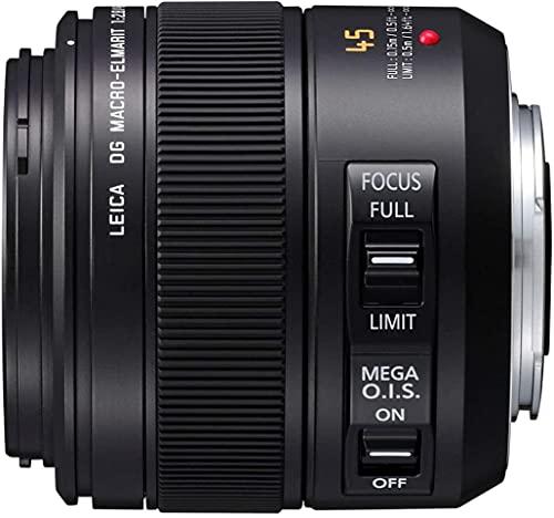Panasonic LEICA DG MACRO ELMARIT H-ES045 - Objetivo Macro para cámaras de montura M4/3 (Focal 45 mm, F2.8, lentes asféricas, tamaño filtro 46 mm, Mega O.I.S), negro