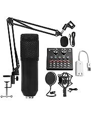 Kondensor mikrofon kit kardioid studio kondensatormikrofon med justerbar bomarm chock montering popfilter podcasting spelande streaming youtube