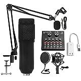 LLTFFFHM Condenseur Microphone Kit Carioïde Studio Condenseur Microphone avec Bras de flèche...