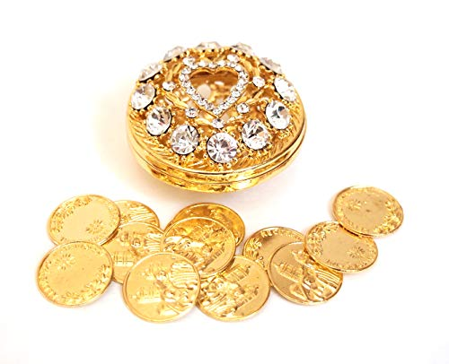 Joice Gift Round Rhinestone Wedding Arras with Coins Set, Gold
