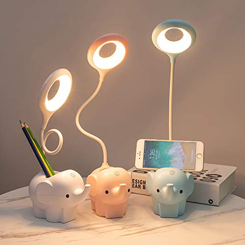 Elefante Lámpara de mesa pequeña LED que protege los ojos, portalápices, lámpara de mesa portátil adecuada para que los niños aprendan a leer