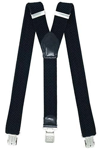 Xeira Hosenträger UNI & Gestreiften Design mit 3 Extra Starken XL ADLER Clips (Standard, Schwarz)