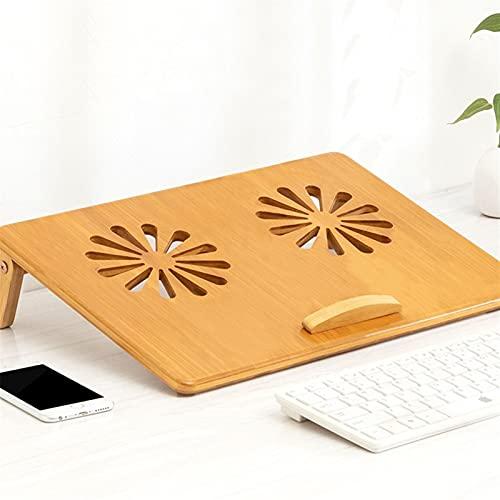 SUNDAY HOME Soporte de portátil de bambú para Escritorio, computadora portátil de Escritorio Soporte de elevación Ajustable, Ergonomía Portada de enfriamiento portátil con ventilación