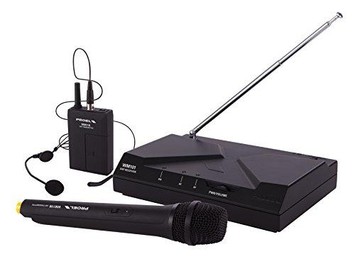Proel WM101KIT - Kit Radio Microfono Wireless a frequenza fissa composto da Bodypack e Microfono Archetto Nero + Microfono Palmare Gelato, Nero