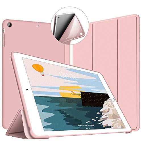 VAGHVEO Funda iPad Air, Carcasa con Magnetic Auto-Sueño/Estela Función Ultra Delgada y Ligéra Protectora Suave Silicona TPU Smart Cover Case para Apple iPad Air 1 (Modelo A1474, A1475, A1476), Rosa