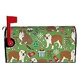 Buzón cubre buzón inglés Bulldog Navidad perro inglés Navidad raza perro caseta magnética buzón correos cubierta para decoración de jardín patio tamaño estándar 52.8 cm (L) x 45.7 cm (W)