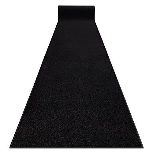 Passatoia KARMEL pianura, un colore, per cucina, corridoio, soggiorno, robusto, moderno, nero 60x220 cm