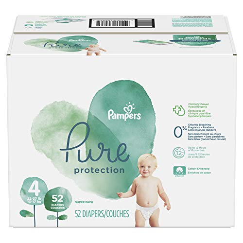 Pampers Pure Protection Diapers Size 4, 52 Count, packaging may vary