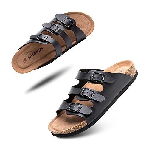 Sandalias Mujer Hombre Planas Zapatillas Verano Chanclas con Hebilla Mules Zapatos Soporte del Arco Comodas Negro Talla 43 EU