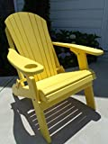 Furniture Barn USA Premium Folding Adirondack Chair w/Cup Holder - Poly Lumber - Yellow