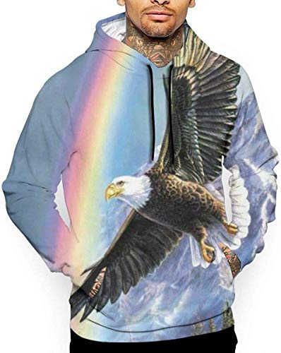 Rainbow American Bald Eagle Unisex Hoodie Novelty Cool Lange Mouw Trui Grote Zakken Hooded Grappige Print Sweatshirt