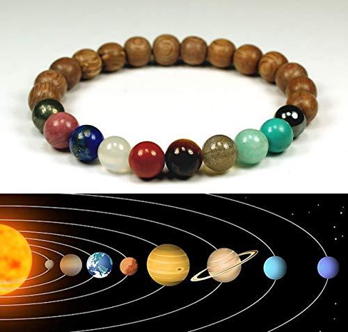 Univers Premium Espace Planètes Système Solaire Pierre naturelle Perles Bracelet Cadeau