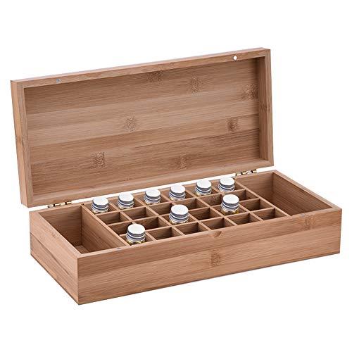 Beunyow 26 Botellas Caja de Aceite Esencial Organizador de Bambú Estuche Portátil Caja de Almacenamiento de Aromaterapia para almacenar Aceite, Perfume, Aceite Esencial para Negocios