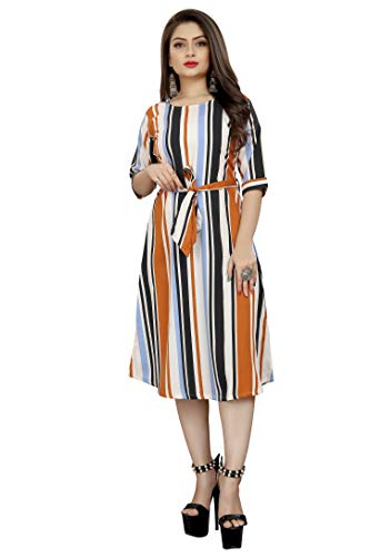 AA Creation Women's Casual Crepe Striped Short Fit and Flare Western Dress (134, Multicolour, S One Piece)