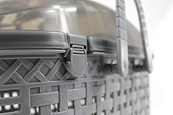 Iris Ohyama, Panier transport / caisse de transport avec entrée par le haut, 2 poignées & bandoulière, ventilation optimale, espace de rangement, chien, rongeur - Mesh Pet Carry MPC-450 - Gris
