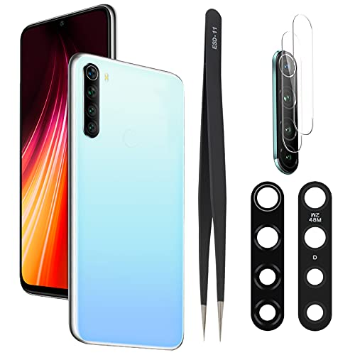 YHX-OU Para Xiaomi Redmi Note 8 Lente Cristal Cámara Trasera [2 Piezas] con pinzas + 2 Piezas Cámara Cristal Templado (Negro)
