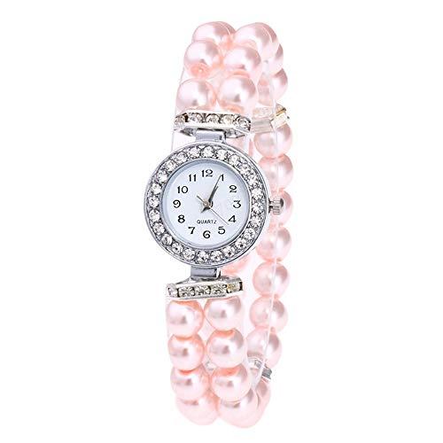 Uhr Damen Perlen Armband Diamond Schönes Zifferblatt Mode Frauen Uhr Casual Pearl String Uhr Armband Quarz Armbanduhr (Rosa)