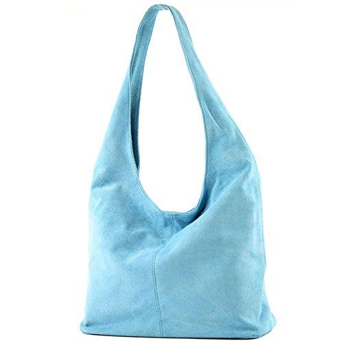 modamoda de - T150 - ital Schultertasche aus Leder Wildleder, Farbe:Hellblau