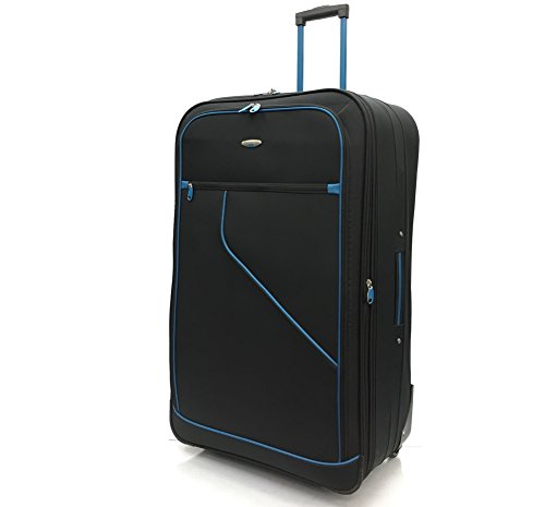 Ryanair & EasyJet Lightweight Expandable Cabin Approved Trolley 2 Wheeled Luggage Bag (18 inch FITS Within 55 x 40 x 20cm & 21 inch FITS Within 56 x 45 x 25cm) (32' Extra Large, Black/Blue)
