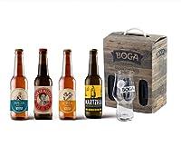 Coffret 4 bières craft différentes Un verre à bière de dégustation de 33cl comportant le logo de la marque Boga est offert pour harmoniser contenant et contenu Bières brassées au Pays Basque dans la tradition des maîtres brasseurs, élaborées à partir...