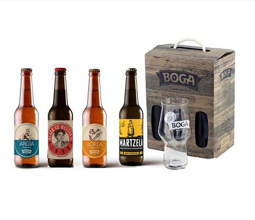 Coffret passion 4 bières basques BOGA, verre de dégustation BOGA offert, idée cadeau