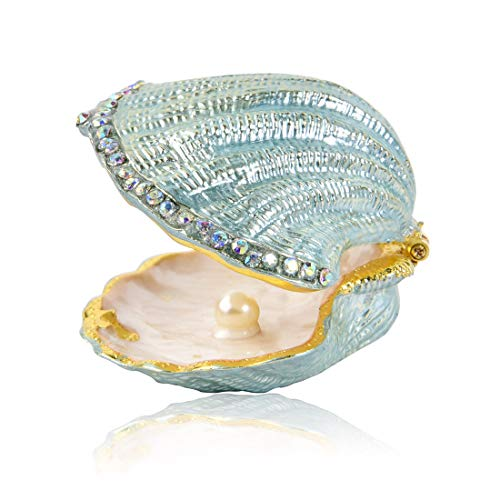MICG Vintage Pearl Mussel Hinged Trinket Box Wedding