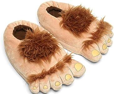 Zapatillas de Pieles Bigfoot Furry Monster para Hombre, cómodas Zapatillas de pie Hobbit cálidas para Adultos
