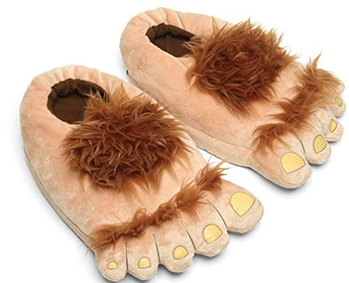 Zapatillas de Pieles Bigfoot Furry Monster para Hombre, cmodas Zapatillas de pie Hobbit clidas para Adultos