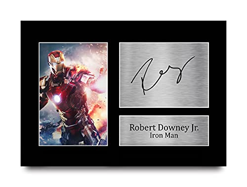 HWC Trading Robert Downey Jr A4 Sin Marco Regalo De Visualización De Fotos De Impresión De Imagen Impresa Autógrafo Firmado por Iron Man The Avengers Los Aficionados Al Cine